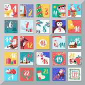 Christmas holiday advent calendar template design. Merry xmas days countdown game with card decorations.