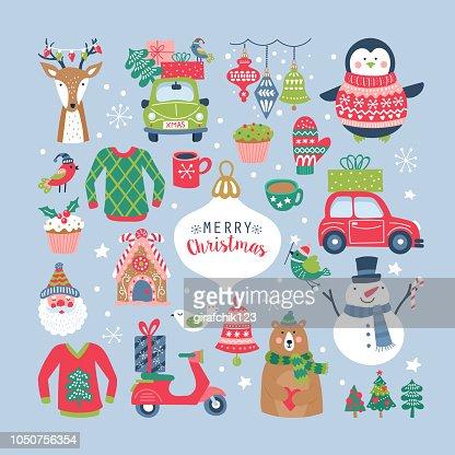 クリスマス休暇のかわいい要素設定します。 : ベクトルアート