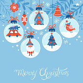 Christmas holiday cute greeting card design. Childish print for cards and nursery decoration. Vector Illustration