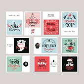 Christmas holiday greeting card set with typography and  hand drawing elements. Isolated vector illustration