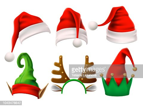 Christmas holiday hat. Funny 3d elf, snow reindeer and Santa Claus hats for noel. Elves clothes isolated vector set : Vector Art