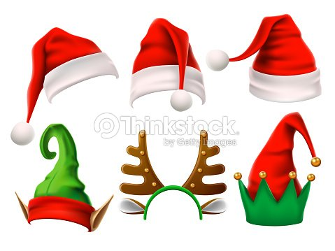 Christmas holiday hat. Funny 3d elf, snow reindeer and Santa Claus hats for noel. Elves clothes isolated vector set : stock vector