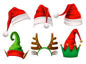 Christmas holiday hat. Funny 3d elf, snow reindeer and Santa Claus hats wearing for noel sign. Elves fur cap clothes, decoration xmas costume cartoon isolated vector icon set