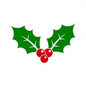 Christmas holly berry symbol icon illustration