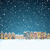 Christmas house in snowfall at the night. Happy holiday greeting card with town skyline, snow and big moon. Midtown houses panorama xmas poster. Vector winer illustration eps10