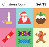 Simple flat style illustrated Christmas icon set. Created in Illustrator and easily editable.