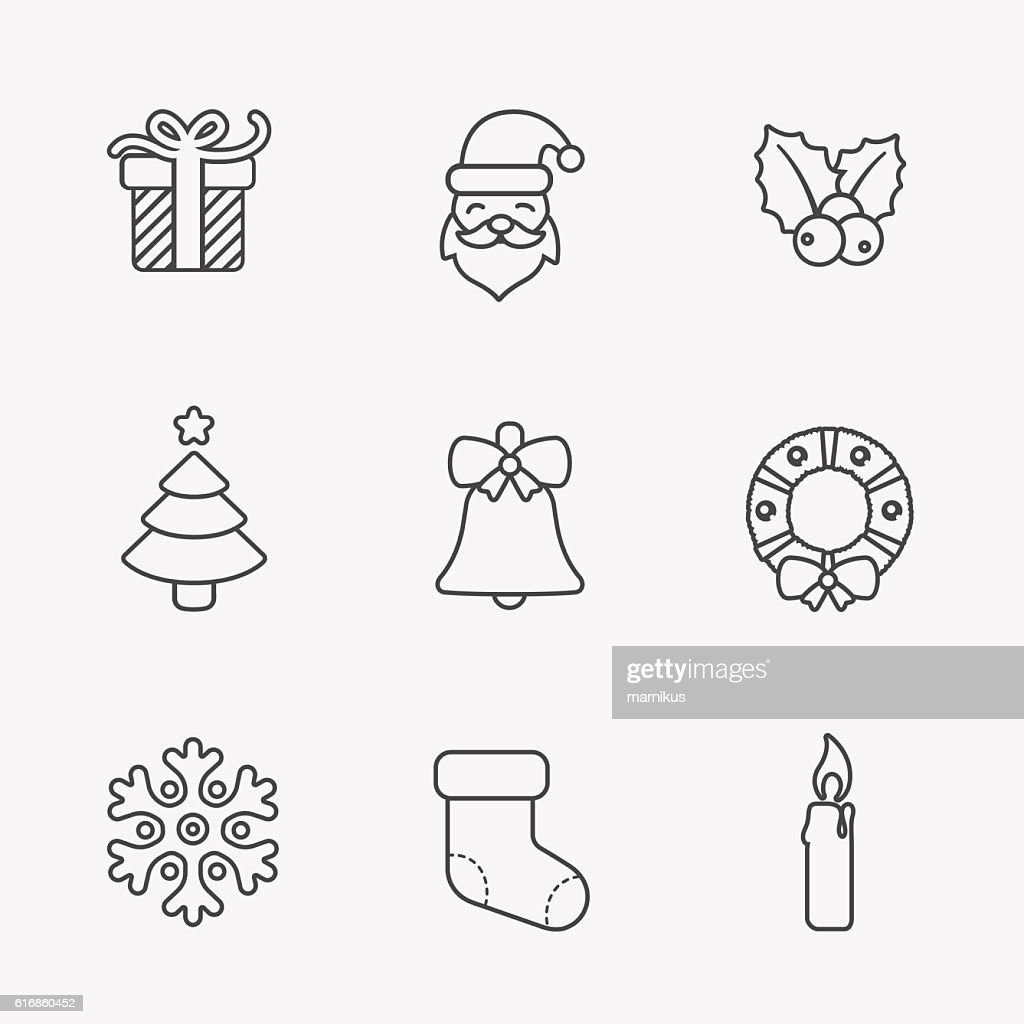 Christmas icons, thin line style, on white. : Vector Art