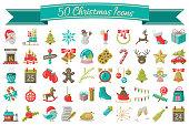 Christmas icons vector set colorful