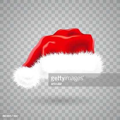 Ilustración de Navidad con sombrero rojo de santa sobre fondo transparente. Objeto vector aislado. : Arte vectorial