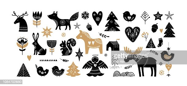 Christmas illustrations, banner design hand drawn elements in Scandinavian style : Arte vettoriale