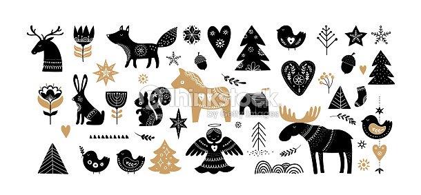 Christmas illustrations, banner design hand drawn elements in Scandinavian style : arte vetorial