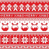 Winter, red Xmas pattern or greetings card - vector design