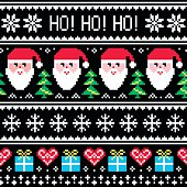 Winter, Xmas pattern Ho! Ho! Ho! on black background