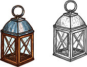 Christmas lantern. Retro candle light lantern lamp for New Year celebration. Isolated vector sketch icon