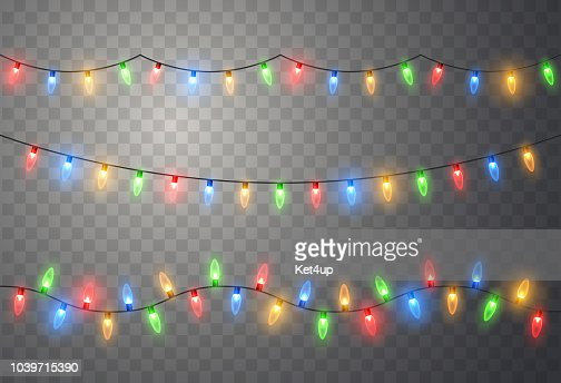 Christmas lights. Colorful bright Xmas garland. Vector red, yellow, blue and green glow light bulbs : Vector Art