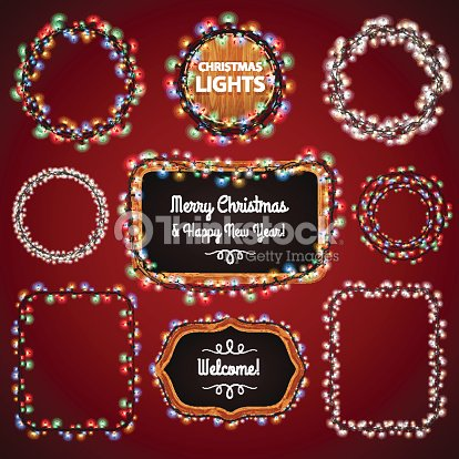 christmas lights frames with a copy space set4 vector art