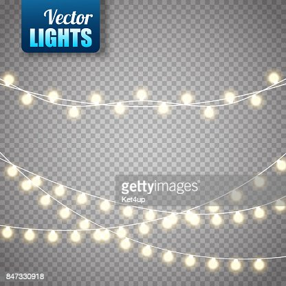 Christmas lights isolated on transparent background. Vector xmas glowing garland : Vector Art