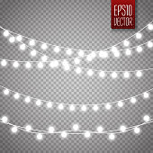 Christmas lights isolated on transparent background. Set of white xmas glowing garland. Vector illustration
