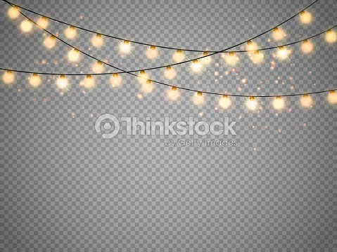 Christmas lights isolated on transparent background. Vector xmas glowing garland : stock vector