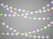 Christmas lights isolated on transparent background. Xmas colorful garland. Vector festive illustration.