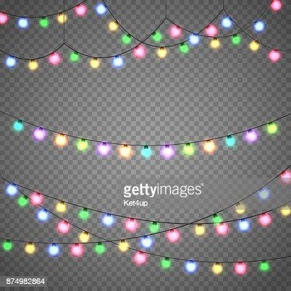 Luces de Navidad aisladas en fondo transparente. Guirnalda de la Navidad. Ilustración de vector : Arte vectorial