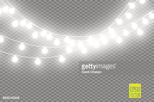Christmas lights isolated on transparent background. Xmas glowing garland. Vector illustration : Vector Art