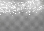 Christmas lights isolated on transparent background. Xmas glowing garland.