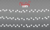 Christmas lights. Realistic string lights design elements of pink and yellow colors. Glowing lights for winter holidays. Shiny garlands for Xmas and New Year.