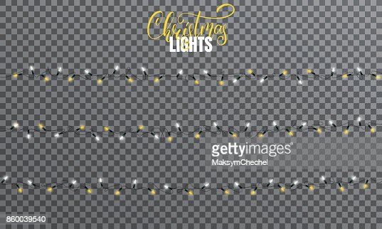 Christmas lights. Realistic string lights design elements of white and yellow colors. Glowing lights for winter holidays. Shiny garlands for Xmas and New Year : Vector Art