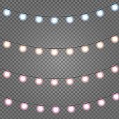 Christmas lights Set of golden xmas glowing garland with sparks. Vector illustration EPS10
