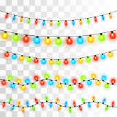 Christmas lights background. Vector template