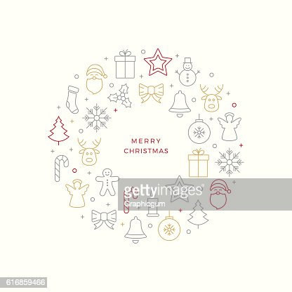 christmas line icons circle elements : Vector Art