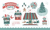 Christmas market illustration. Winter time. Merry Christmas and Happy New Year on amusement park, winter market, festival, fair. Christmas tree, shops with gifts, a Ferris wheel, carousel with horse