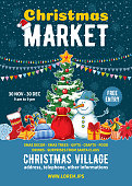 Christmas Market poster template. Xmas fair event advertising banner with decorated Christmas tree, snowman, different elements of winter celebration and space for text. Vector illustration.