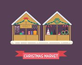 Christmas market stalls with New Year gifts. Xmas gift shops with garlands, souvenirs and decoration. Christmas fair wooden kiosks vector illustration.