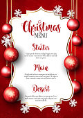 Christmas menu with snowflake and baubles design