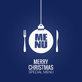 christmas menu with christmas ball, fork and knife design background 10 eps