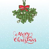 Vector hand drawn mistletoe isolated on blue background with lettering and snow. Vector Christmas plant background. Romantic  illustration. Greeting card design. Vector mistletoe.