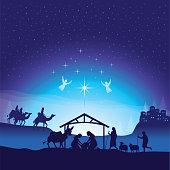 Vector illustration of Christmas nativity scene