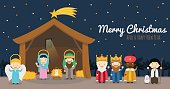 Christmas nativity scene with holy family, the three wise men and star of Bethlehem Vector background
