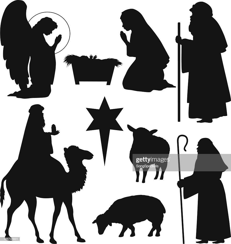 Weihnachten nativity silhouetten vektorgrafik getty images