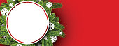 Red round New Year banner with spruce branches and snowflakes. Vector illustration.
