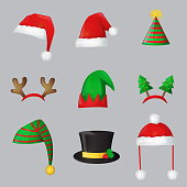 Christmas festive collection of cute celebration new year and christmas ornament hat and headband, santa hat, deer horn, fur tree, elf cap