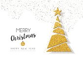 Merry Christmas and happy New Year gold xmas pine tree ornament made of golden glitter dust, holiday greeting card design. EPS10 vector.
