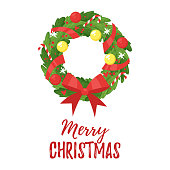 Vector cartoon style holiday Christmas and New Year wreath with colorful Christmas balls and bow, isolated on white background.