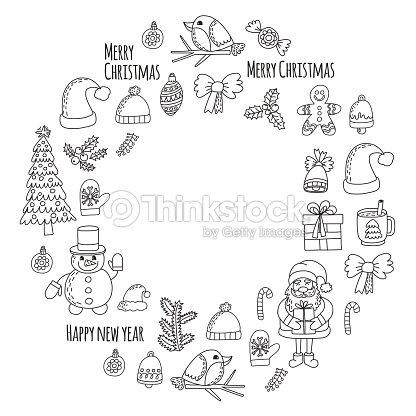 Árbol De Navidad Nuevo Año Santa Claus Doodle Vector Iconos Presenta ...