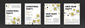 Christmas, New Year party invitation poster design for winter holiday celebration. Vector golden present gift, glittering star snowflake confetti or gold Xmas decorations on white background