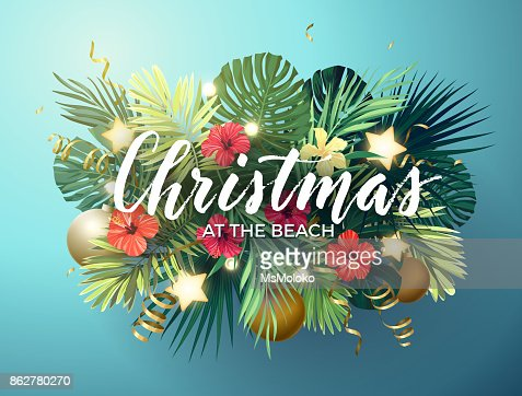 Christmas on the summer beach design with monstera palm leaves, hibiscus flowers, xmas balls and gold glowing stars, vector illustration : Vector Art