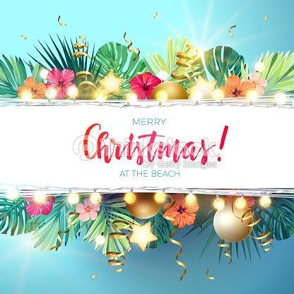 ビーチ デザイン モンステラ ヤシの葉ハイビスカスの花クリスマス ボール