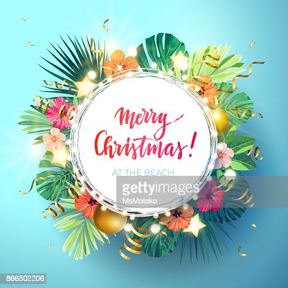 Christmas on the summer beach design with monstera palm leaves, hibiscus flowers, xmas balls and gold glowing stars, vector illustration : stock vector